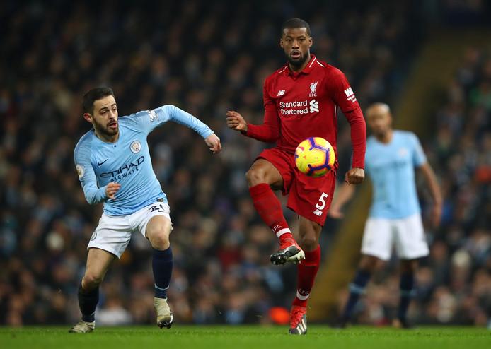 Bernardo Silva (Manchester City) en Georginio Wijnaldum (Liverpool) staan zondagmiddag tegenover elkaar op Wembley.