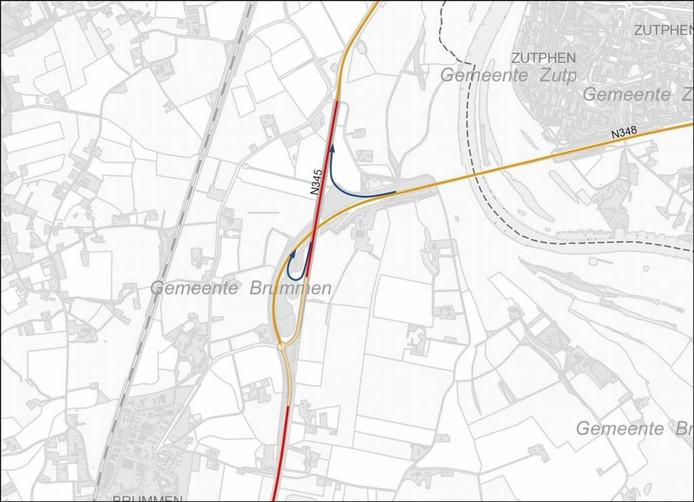Blauwgekleurd zijn de 'bypasses' die de provincie Gelderland overweegt voor een betere doorstroming richting Cortenoeversebrug.