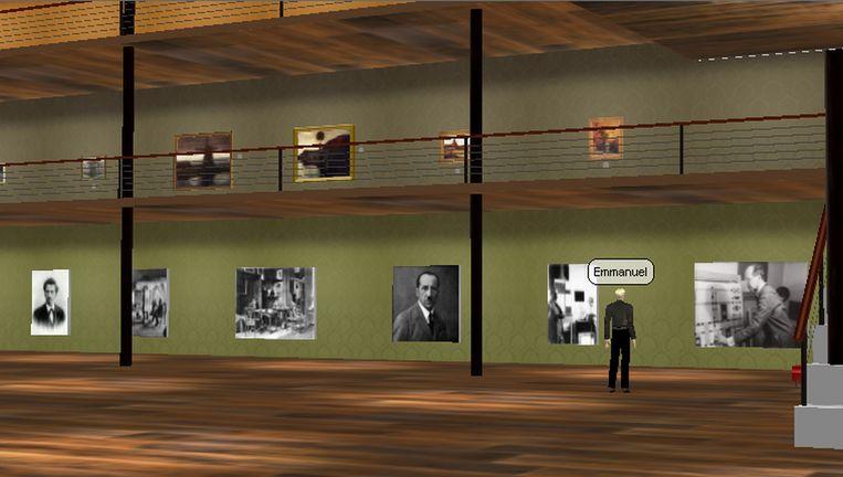 De bezoeker maakt zelf een avatar aan en wandelt door een virtuele museumzaal. Beeld