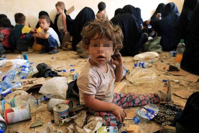 Kinderen van voormaligeIS-strijders in al-Ayadiya, Irak.