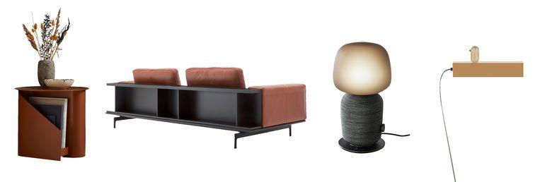 Lectuurbak en tafeltje, kopse kast, muzieklamp, lampje. Beeld
