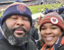 Marcus met zijn vrouw tijdens de match.