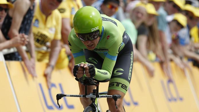 Sebastian Langeveld van team Cannondale-Garmin komt over de finish tijdens de openingsrit van de Tour de France in Utrecht, een tijdrit over 13,8 kilometer.
