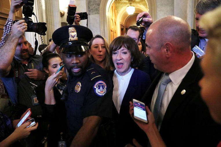De Republikeinse Senator Susan Collins na de stemming over de benoeming van Brett Kavanaugh als opperrechter. Collins twijfelde lang over haar stem, maar besloot haar goedkeuring te geven aan de kandidaat. Beeld REUTERS