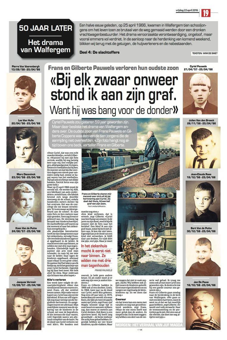 Het was Frans Pauwels die twee jaar geleden een bloemenkrans neerlegde bij de graven van de tien jongens die 50 jaar eerder het leven lieten.
