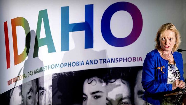 Minister van Onderwijs, Cultuur en Wetenschap Jet Bussemaker spreekt tijdens de homo-top in Den Haag. Beeld anp