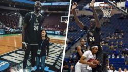 Om te dunken wipt hij alleen even op: 2m31 grote basketbalsensatie Tacko Fall op weg richting NBA
