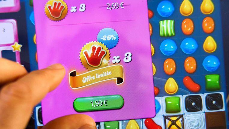 Aankoop in het populaire spel Candy Crush Saga. Beeld afp