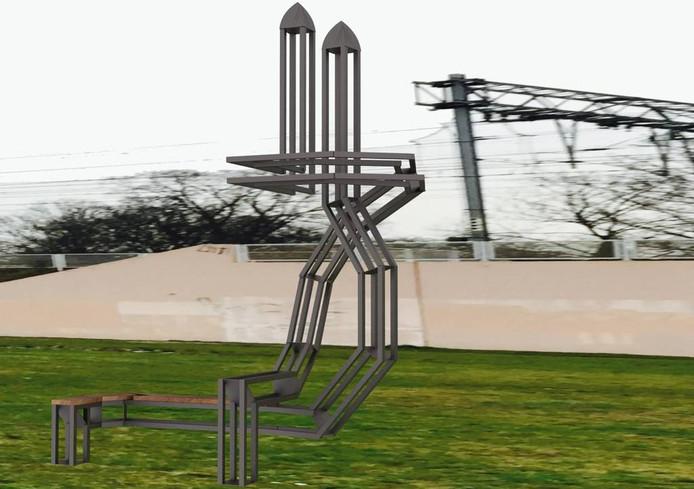 Het ontwerp van Rens Vos voor het monument bij de Glaspoort in Eindhoven. De werkelijke hoogte is zo'n acht meter.