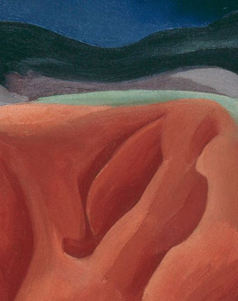 Detail uit Georgia O'Keeffe (1887-1986). Black Mesa Landscape, New Mexico.  Beeld Imageselect