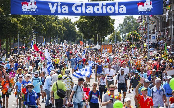 Wandelaars over de Via Gladiola.