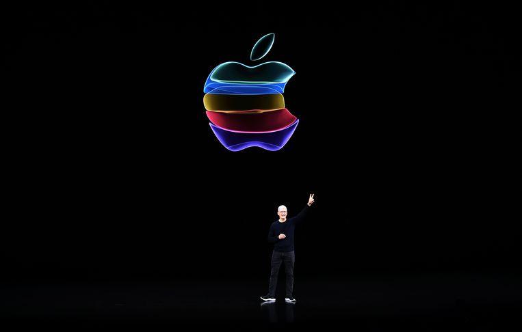 Apple-topman Tim Cook. Het bedrijf hoeft miljarden aan belasting niet alsnog te betalen. Beeld AFP