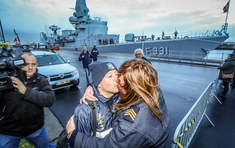 Zeebrugge aankomst fregat F931 Louise-Marie: