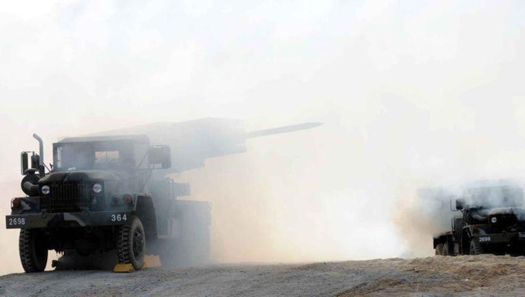Zuid-koreanse tanks in een oefening. Foto ANP Beeld afp
