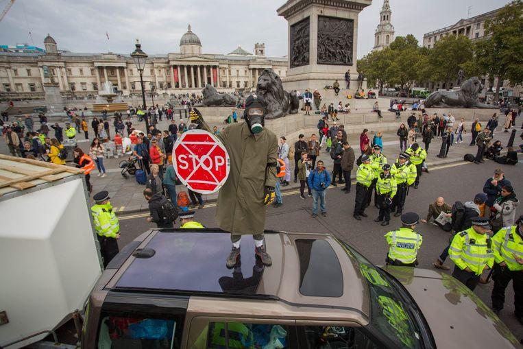 Extinction Rebellion protesten aan Trafalgar Square.