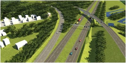 Artist's impression van het nieuwe knooppunt Sint-Annabosch, dat zeker met een half jaar is vertraagd.
