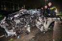 De auto waarin de overleden Paco Geutjes zat.