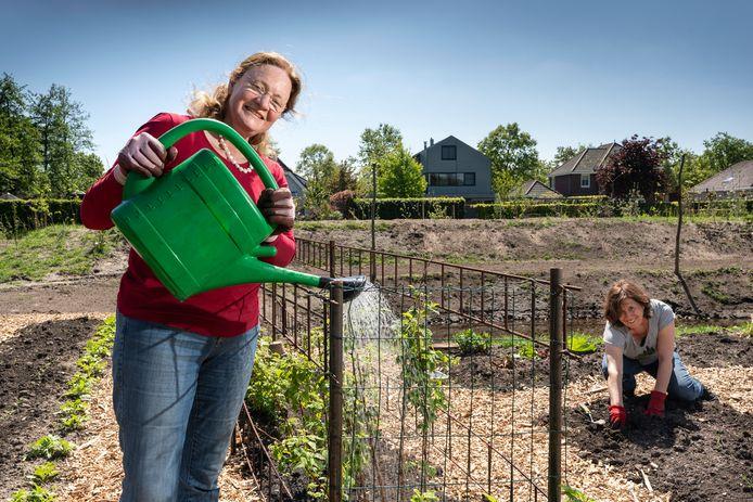 Sinds begin maart wordt er met man en macht gewerkt aan de Samentuin in Sprang-Capelle. Anita de Graaff (links) en Carla Paaijmans zijn twee van de bijna dertig vrijwilligers.