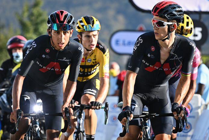 Michal Kwiatkowski loodst de uitgeputte Egan Bernal naar de finish op de Grand Colombier.
