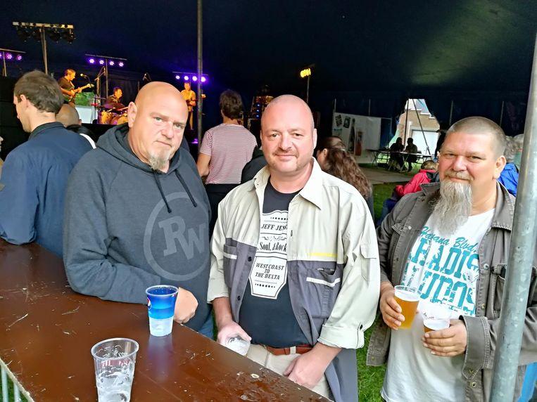 Drie echte rockers in de tent.