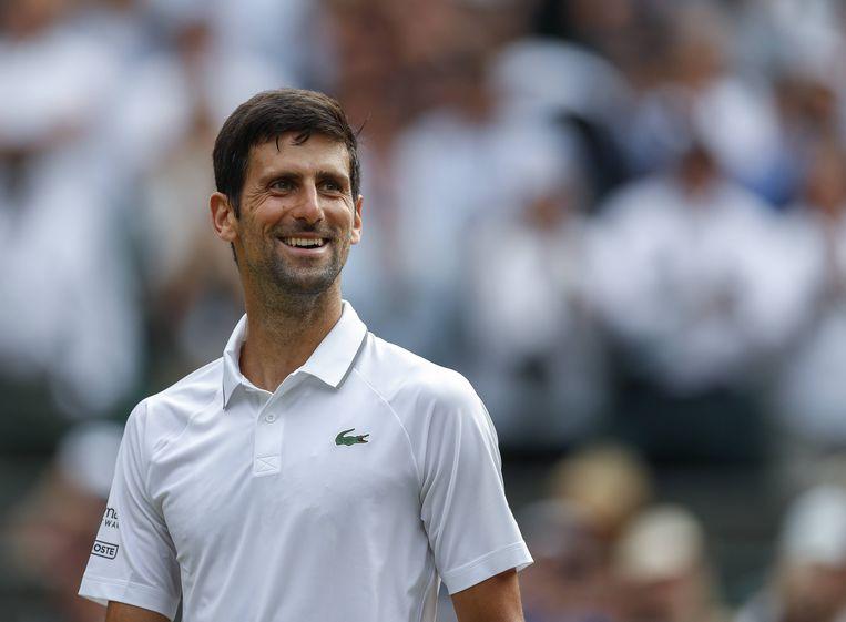 Novak Djokovic na zijn overwinning in de derde ronde van Wimbledon op Hubert Hurkacz uit Polen.  Beeld BSR Agency