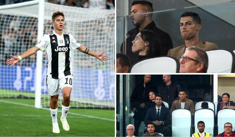 Dybala scoorde er drie, zo zag ook Ronaldo vanuit de tribunes.
