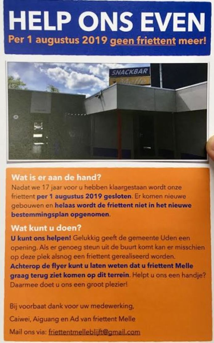 Deze flyer is al 800 keer ingeleverd bij snackbar Melle in Uden.