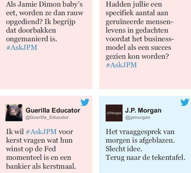 Enkele van de Twitterberichten met de hashtag #AskJPM Beeld