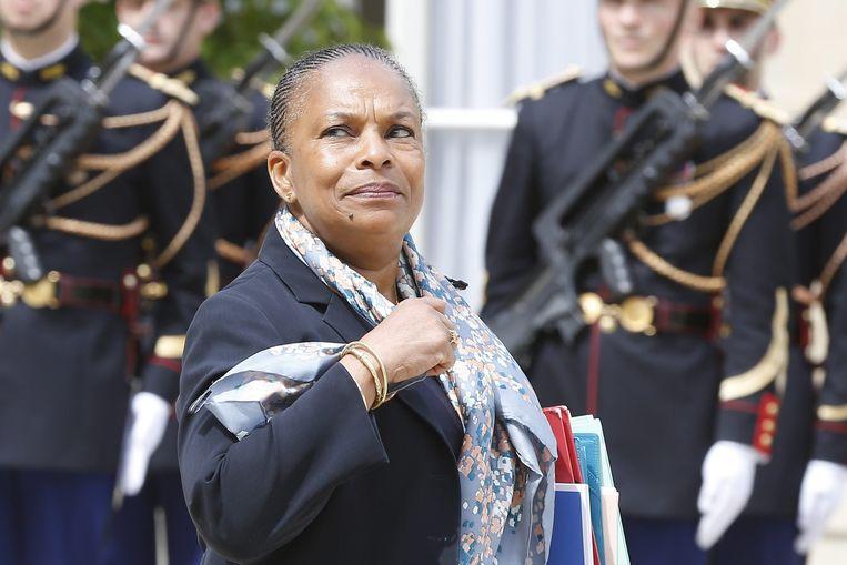 Minister van Justitie Christiane Taubira, afkomstig uit Frans-Guyana,na een kabinetsberaad. Beeld epa
