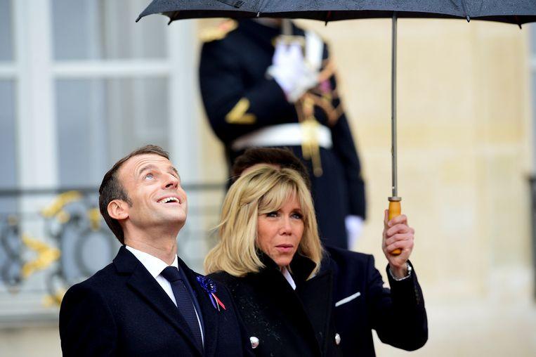 De Franse president Emmanuel Macron met zijn vrouw Brigitte.