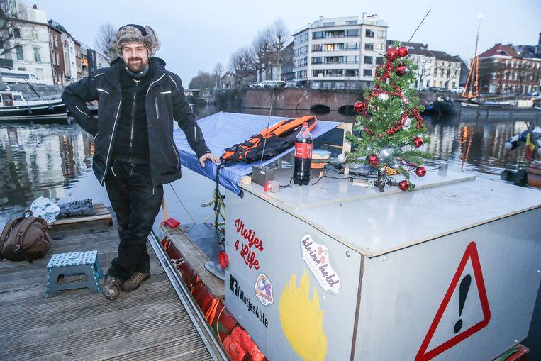 Nicola Dejaeghere sliep o.a. in de jachthaven aan Portus Ganda in Gent.