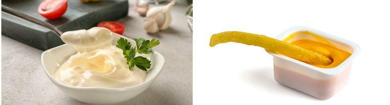 Links de mayonaise, rechts de frietsaus.