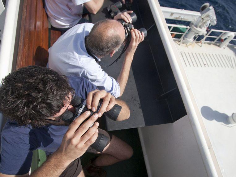 Geert-Jan Brummer (boven) en Roald van der Heide (onder) turen door hun verrekijkers. Beeld Ronald Veldhuizen