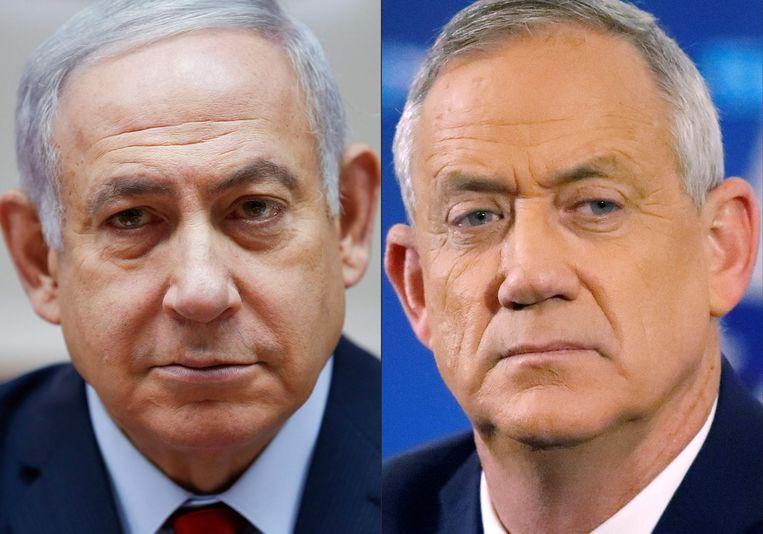 Premier Benjamin Netanyahu (links) en oppositieleider Benny Gantz. Beeld AFP