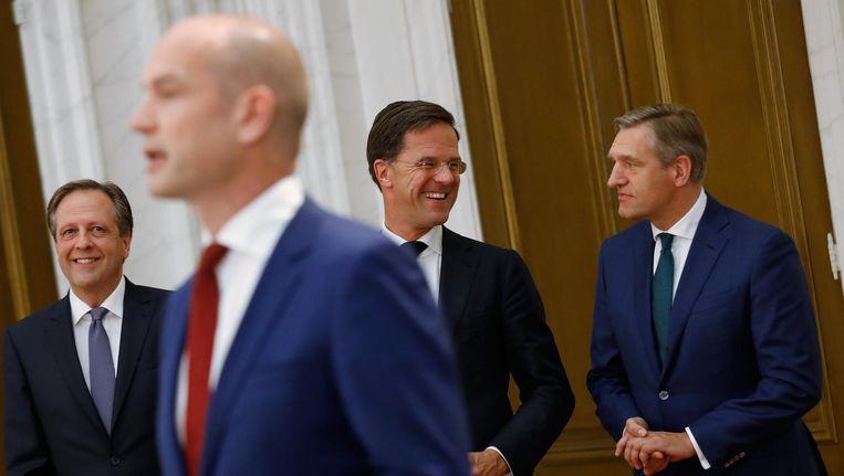 Alexander Pechtold (D66), Gert-Jan Segers (ChristenUnie), Mark Rutte (VVD) en Sybrand Buma (CDA). Beeld anp