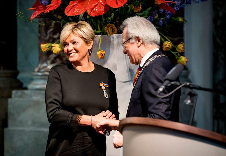 Caroline Tensen kreeg een lintje en is nu Ridder in de Orde van Oranje-Nassau.  Beeld ANP