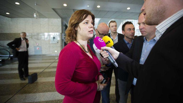 GroenLinks-Kamerlid Linda Voortman staat de pers te woord. Beeld anp