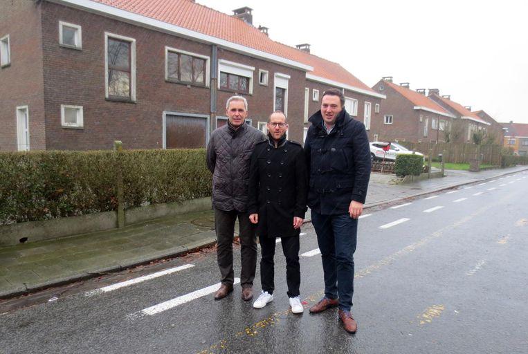 Gino Van Den Heede, Rutger De Reu en Tjomme Therry in de Van Der Cruyssenstraat.