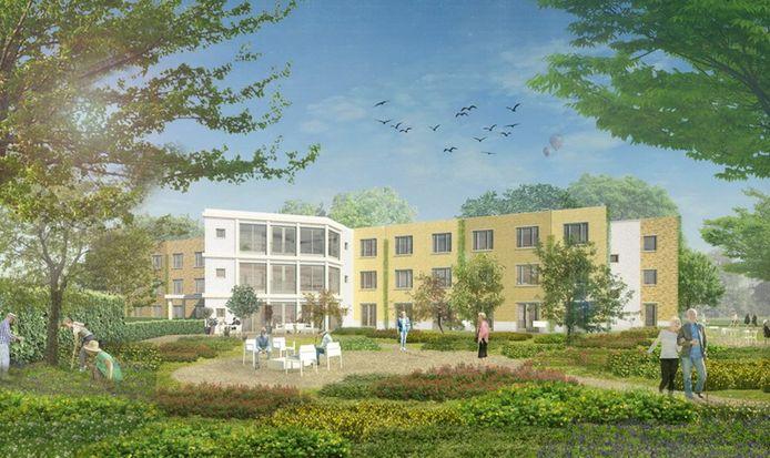 De geplande nieuwbouw in Kamp-wijk in Lindenholt. Veel te kolossaal, menen omwonenden, voor het 'dorpse' en groene karakter van hun woonbuurt.