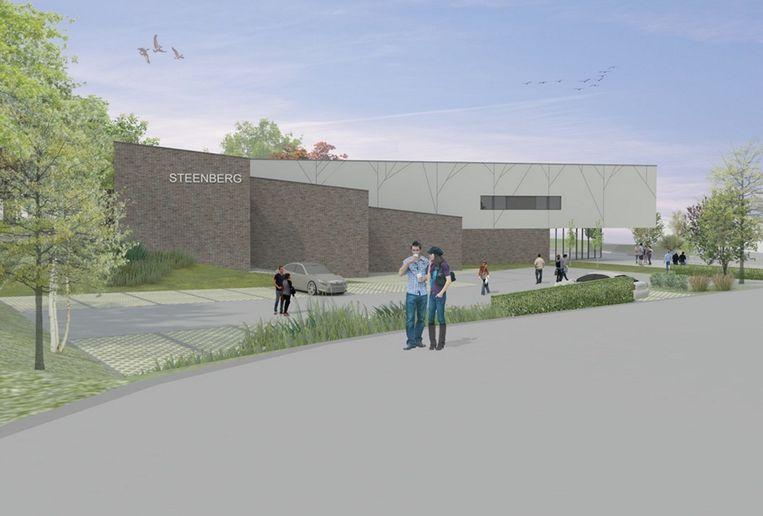 Het cultuurhuis komt meteen links bij het oprijden van het domein Steenberg.