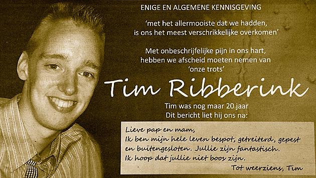 e rouwadvertentie van de 20-jarige Tim Ribberink.