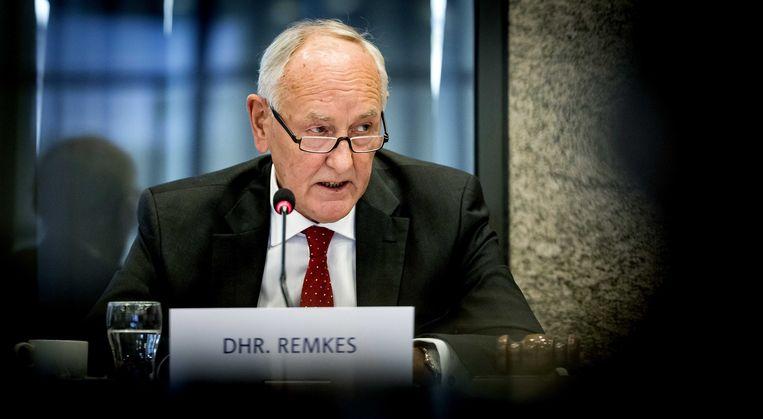 Johan Remkes tijdens een coalitieoverleg over stikstof. Beeld ANP