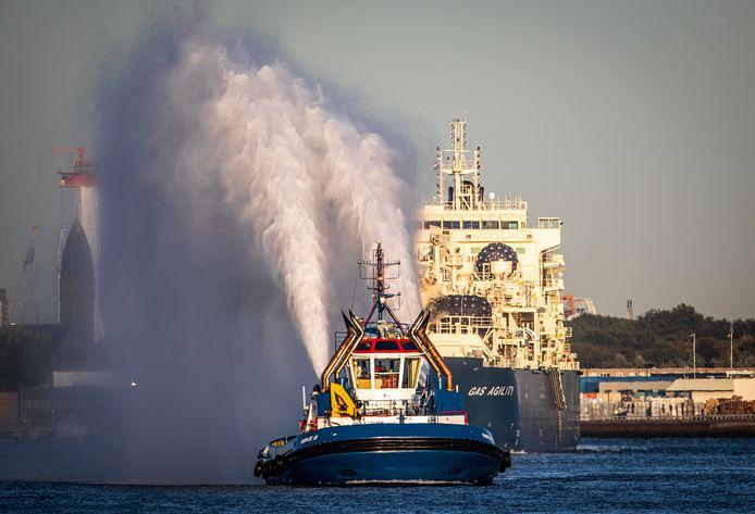 Aankomst van het grootste bunkerschip voor gas ter wereld.