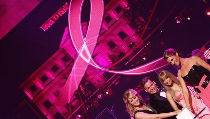 Om de borstkankermaand in te luiden verlichten Sylvie van der Vaart-Meis (2eR) samen met Henk van der Mark (2eL), MD Estee Lauder Companies Benelux, presentatrice Chantal Janzen (L) en Pink Ribbon ambassadeur Quinty Trustfull (R) in 2009 het Koninklijk Theater Carre in het roze. © ANP