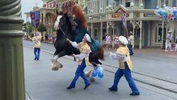 Paard slaat op hol tijdens stoet in Disneyland Florida