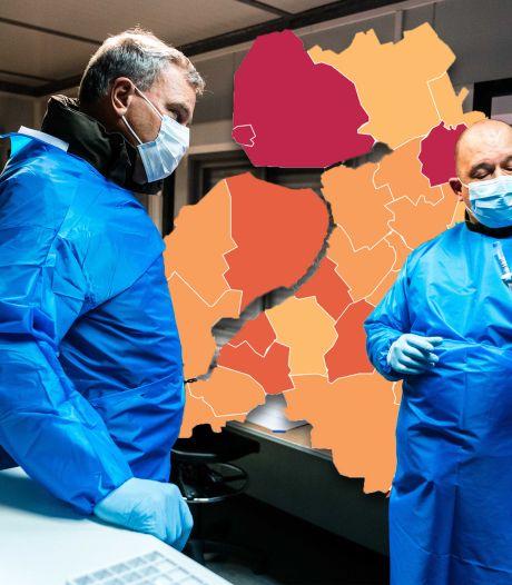 KAART | Flink meer coronabesmettingen in Oost-Nederland, Flevoland op een na slechtst scorende veiligheidsregio