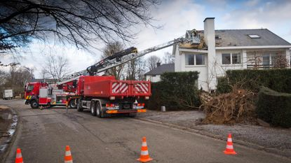 Ontwortelde boom valt op huis