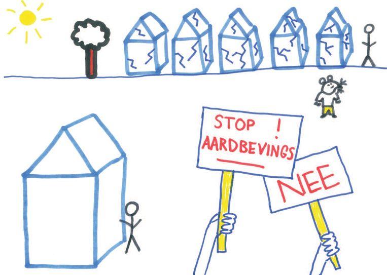 """In het rapport 'Een veilig huis, een veilig thuis' staan kindertekeningen met commentaar van de makers. """"Dit grote huis hier daar woon ik dan daar zitten ook niet echt scheuren in. Je ziet wel gewoon andere huizen met schade en dan ook andere mensen die echt heel erg boos worden en protesten en zo."""" Beeld -"""