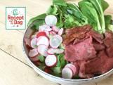 Noedelsoep met gemarineerde biefstuk