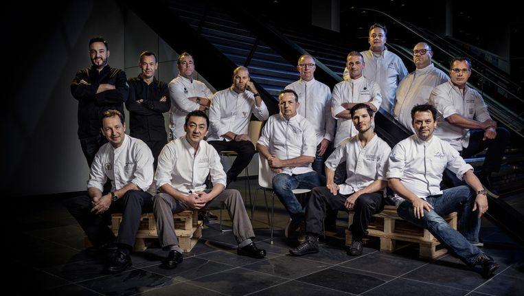 Vorig jaar liet Het Parool in de hal van de redactie alle chef-koks van de huidige Amsterdamse sterrenzaken samen fotograferen. Beeld Martin Dijkstra